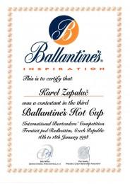 1998 Diplom za účast Ballantines Hot Cup 1998