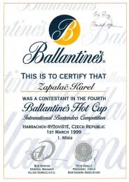 1999 Hot Cup Ballantines - diplom za účast