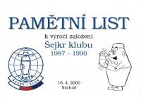 ŠEJKR CLUB Pamětní list 2000